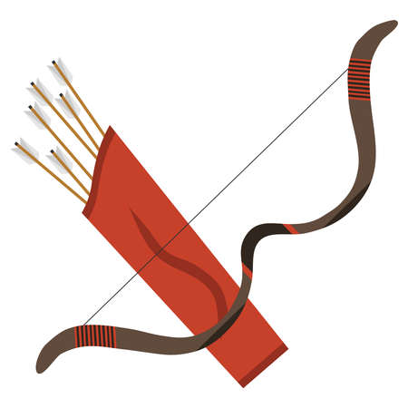 Bow with arrows. Flat design, vector illustration, vector.