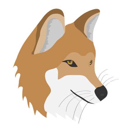 Head of fox. Flat design, vector illustration.