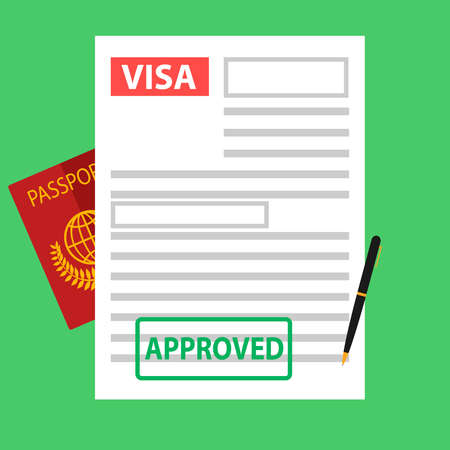 Visa, registration of documents for immigration, passport. Flat design, vector illustration, vector.  イラスト・ベクター素材
