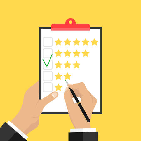 opinion: Putting the rating on paper. Hands hold a paper and put a rating of three stars. Flat design, vector illustration, vector.