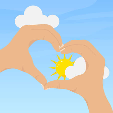 Hands are folded in the form of a heart. Flat design, vector illustration, vector.