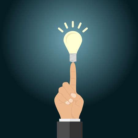 A light bulb on the tip of a finger. Concept of business idea. Flat design, vector illustration, vector.