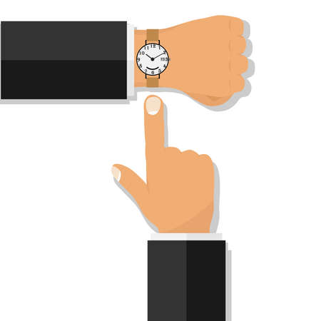 Hand with a wristwatch. The finger points to the clock. Flat design, vector illustration, vector.