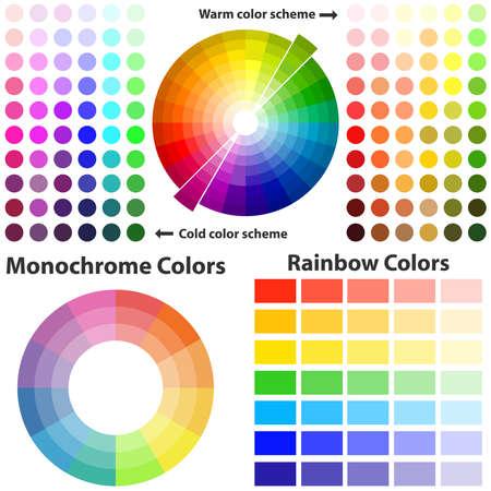 Esquema de colores, colores cálidos y fríos. Diseño plano, ilustración vectorial, vector. Foto de archivo - 87658909