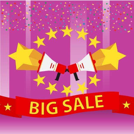 Banner with stars on a pink background big sale. Flat design, vector illustration, vector.