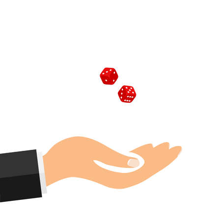 The hand tosses dice, to play dice. Flat design, vector illustration, vector. Illustration
