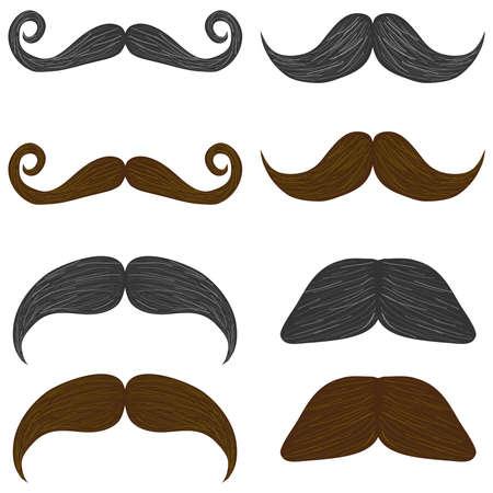 Mustache, set of mans mustache. Flat design, vector illustration, vector. Illustration