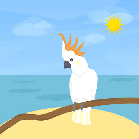 Parrot Cockatoo, a bird. Parrot cucumber on the background of the sea and sky. Flat design, vector illustration, vector. Illustration