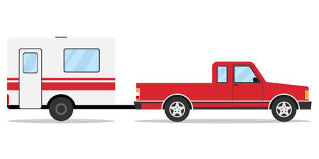 axles: Pickup with trailer, pick-up with trailer, car. Flat design, vector illustration, vector.