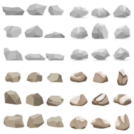Stone, a set of stones, many stones. Flat design, vector illustration, vector.