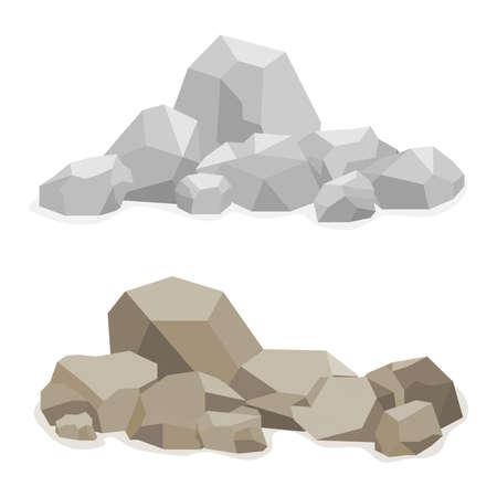 cobble: Stones, a hill built of stones, many stones. Flat design, vector illustration, vector. Illustration