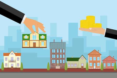 대리인이 집을 돈 대신에 팔고, 손은 집을 잡고 다른 집은 돈을 간직합니다. 평면 디자인, 벡터 일러스트 레이 션, 벡터. 일러스트