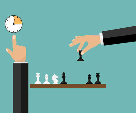 Game of chess. The hand rearranges the chess piece, vector illustration.