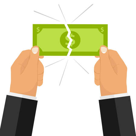 手は、お金の法案を破る。2 つの手は、お金を破った。フラットなデザイン、ベクトル イラスト ベクターします。  イラスト・ベクター素材