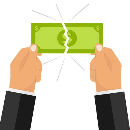 Las manos rompen la cuenta de dinero. Dos manos rompieron el dinero. Diseño plano, ilustración vectorial, vector.