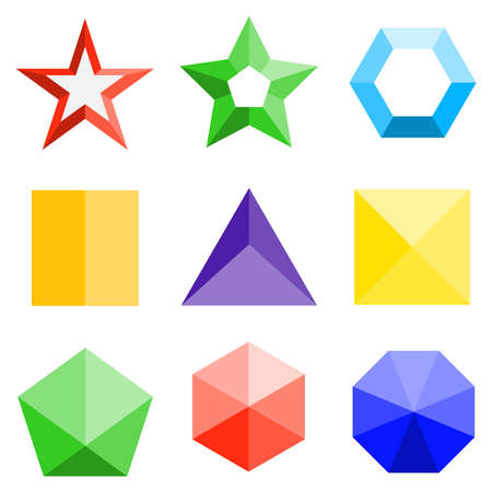 A set of three-dimensional colored geometric shapes. Flat design, vector illustration, vector.