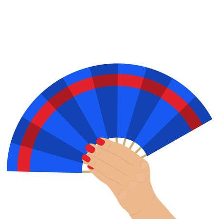 Fan in a female hand, waving a fan. Flat design, vector illustration, vector.