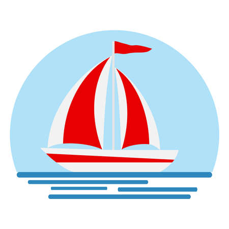 Boat with sails, boat icon. Yacht with scarlet sails. Flat design, vector illustration, vector.
