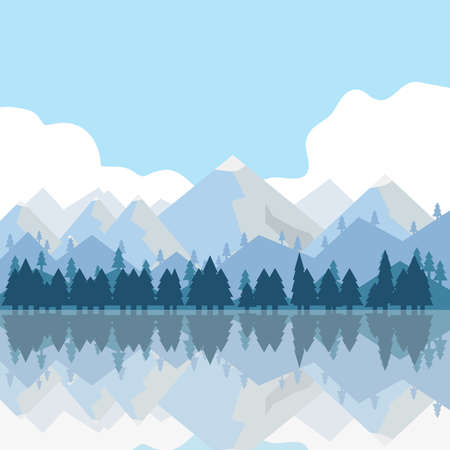 The mountains and trees are reflected in the water. Mountains, lake, trees, grass.