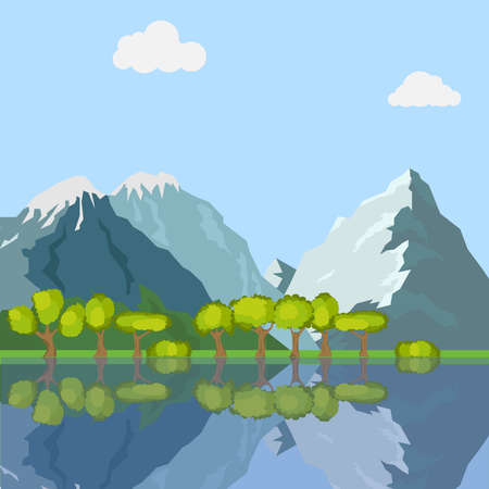 The mountains and trees are reflected in the water. Mountains, lake, trees, grass. Flat design, vector illustration, vector. Illustration