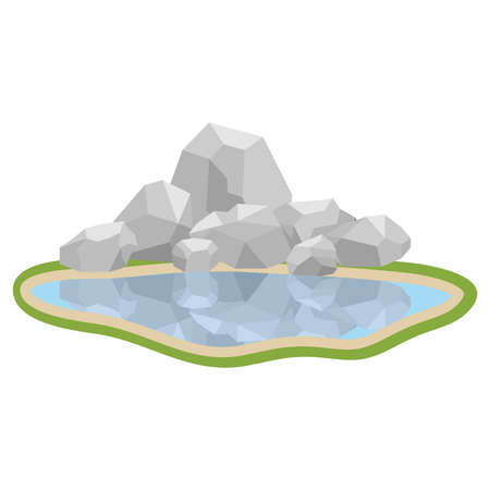 Lake with rocks. The stones are reflected in the lake water. Flat design, vector illustration, vector.
