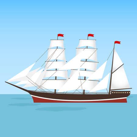 A frigate, a ship sails floating on the water. Flat design, vector illustration Illustration