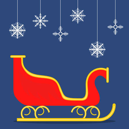 Red sleigh of Santa Claus on a blue background. Flat design, vector illustration Vettoriali