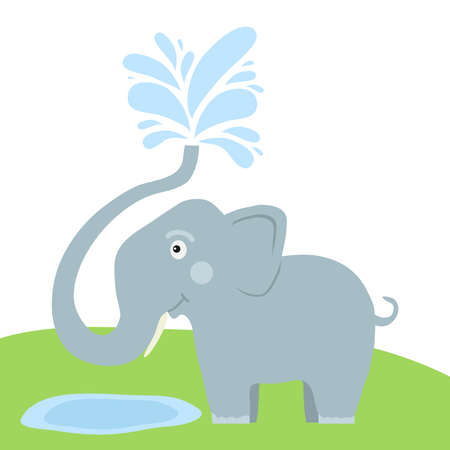 Elephant spray water with trunk. Splashing water from the elephants trunk. Flat design, vector illustration, vector. Illustration