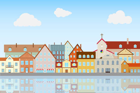 Houses reflecting in the water. Flat design, vector illustration