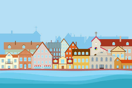Street of the old city, embankment. Flat design, vector illustration