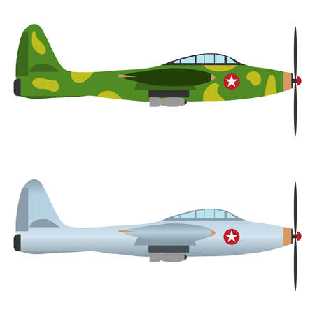 Military aircraft, fighter. Military aviation. Flat design, vector illustration, vector. Illustration