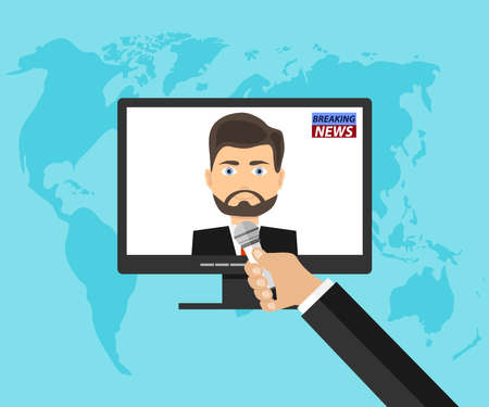 A hand with a microphone interviews a person from the computer. News Service. Flat design, vector illustration, vector.
