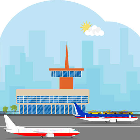 The airport building with airplanes and a runway. Aircraft are on the runway. Flat design, vector illustration, vector. Иллюстрация