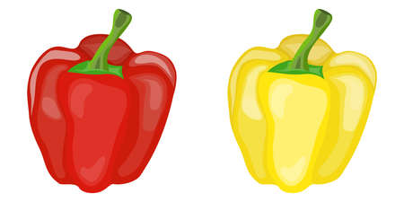 Sweet red and yellow pepper. Two peppers. Flat design, vector illustration, vector.