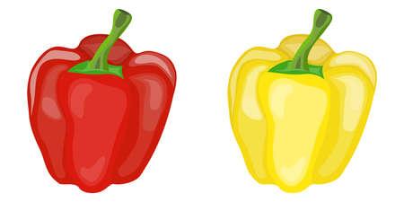 Poivron rouge et jaune doux. Deux poivrons Design plat, illustration vectorielle, vecteur.