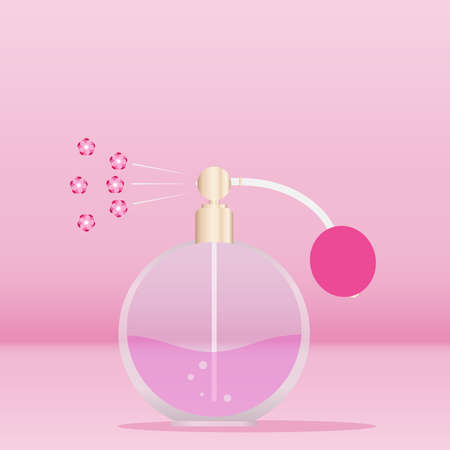 Retro perfume, retro perfume vaporizes the floral scent. Flat design, vector illustration, vector.
