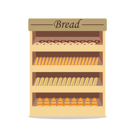 Shelves with bread with bread, shop window with bread. Selling bread. Flat design, vector illustration, vector. Vectores