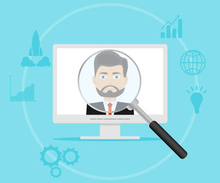 A magnifying glass looks at the person in the computer. Flat design, vector illustration, vector. Illustration