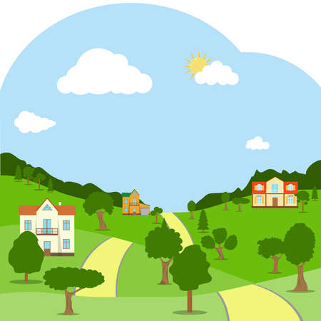 A rural landscape with houses, green hills, trees and road. Flat design, vector illustration, vector.