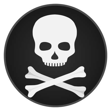 Skull with bones. Skull and bones on a black background. Flat design, vector illustration, vector.