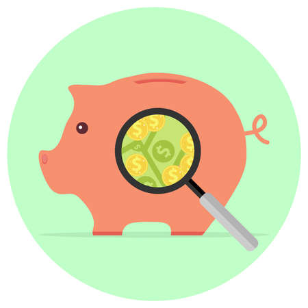 A magnifying glass looks at the pig piggy bank with money. Flat design, vector illustration, vector. Ilustração