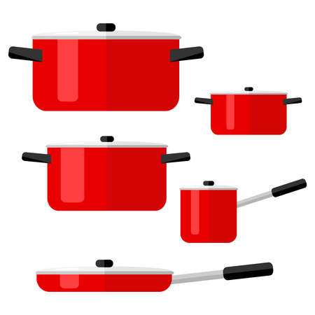 Pans, set of pots and pans. Kitchenware. Flat design, vector illustration, vector. Фото со стока - 90871615