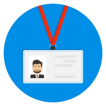 Badge, identification card, badge icon. Flat design, vector illustration. Illustration