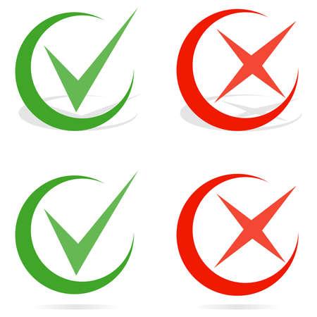 Green tick and red cross checkmarks. Line check mark. Flat design, vector illustration, vector. Illustration