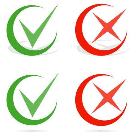 Green tick and red cross checkmarks. Line check mark. Flat design, vector illustration, vector. Illustration