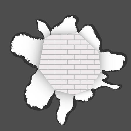 Torn realistic paper. Pieces of torn paper. A hole in a torn paper with a brick wall texture. Flat design, vector illustration, vector.