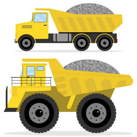 瓦礫のダンパー。貨物輸送、大型トラック、ダンパーアイコン。フラットデザイン、ベクトルイラストレーション、ベクトル。
