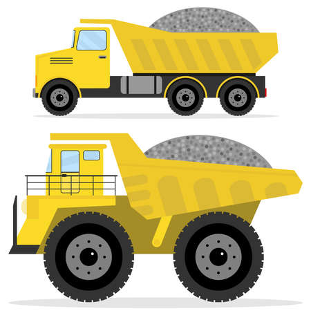 Dumper with rubble. Freight transport, heavy truck, dumper icon. Flat design, vector illustration, vector. Illustration