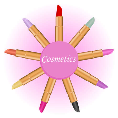 Lipstick, a set of lipsticks in a circle, a cosmetic. Flat design, vector illustration, vector.