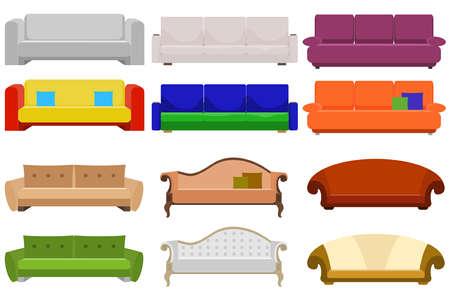 Sofa, a large set of sofas. Cushioned furniture. Flat design, vector illustration, vector.